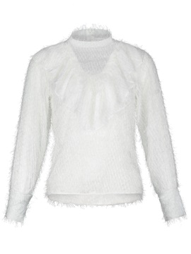 Turtleneck Falbala See-Through Women's Blouse