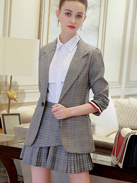 Ericdress Jacket and Skirt Women's Plaid Suit