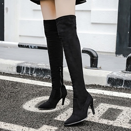 EricdressSuede Pointed Toe Stiletto Heel Knee High Boots