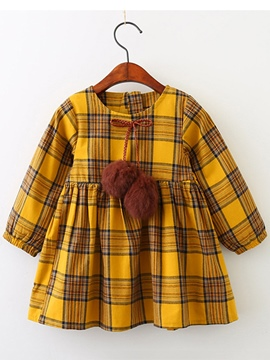 Ericdress Plaid Lantern Sleeve Pullover Girl's Dress