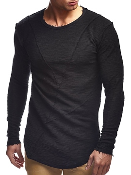 Ericdress Slim Fit Round Neck Long Sleeve Men's T Shirt