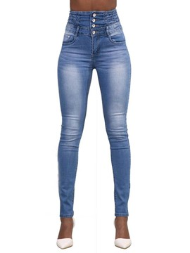 Ericdress Skinny Button Pleated Women's Jeans
