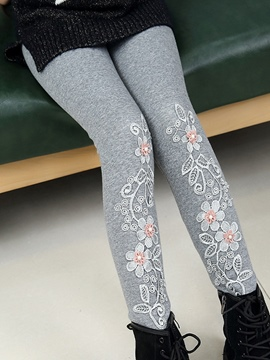 Ericdress Embroidery Patchwork Thciken Girl's Legging