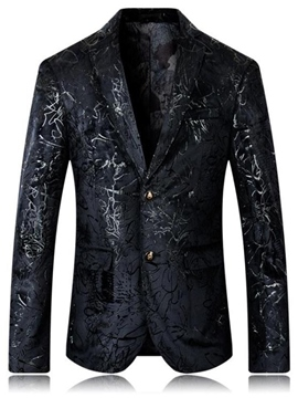 Ericdress Lapel Single-Breasted Jaquard Fit Men's Blazer