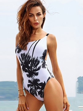 Ericdress Coconut Palm Print Back-Hollow Bandage Monokini