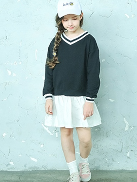 Ericdress Color Block Patchwork V-Neck Girl's Dress