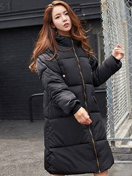 Ericdress Plain Turtleneck Long Thick Down Coat