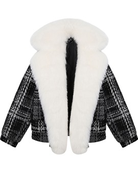 Ericdress Plaid Wrapped Faux Fur Collar Coat