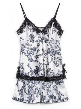 Ericdress Floral Satin Pajama Camisole Short Sets Sexy Nightwear