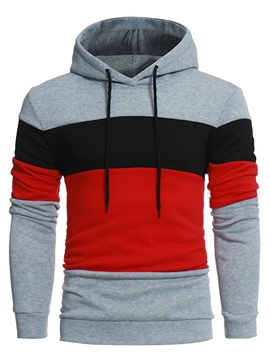 Ericdress Hooded Patchwork Color Block Pullover Men's Hoodie