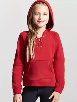 Ericdress Plain Hooded Bandage Girl's Sweater