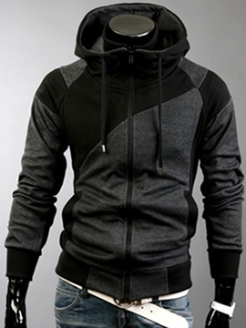Ericdress Hooded Patchwork Zip Up Men's Cardigan Hoodie