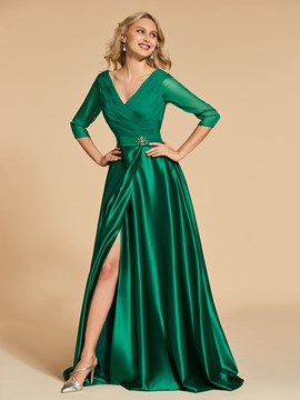 Ericdress V Neck Pleats Side Slit 3 4 Long Sleeve Evening Dress 3783a0fdb5df