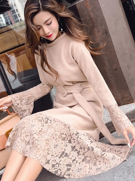 Ericdress Lace Patchwork Flare Long Sleeve Belt Sweater Dress