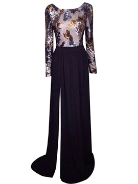 Ericdress Sequin Backless Long Sleeve Floor-Length Maxi Dress
