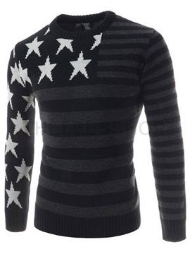 Ericdress Star Print Slim Stripe Men's Pullover Sweater