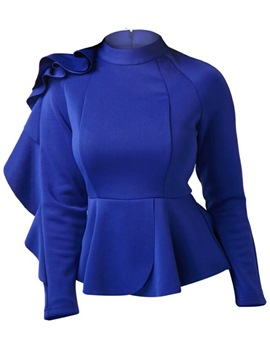 Ericdress Slim Asymmetric Stand Collar Ruffles Blouse