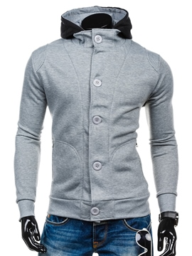Ericdress Hooded Slim Double-Breasted Men's Cardigan Hoodie