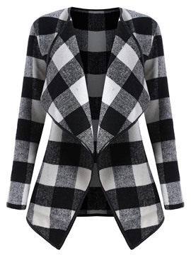 Ericdress Plaid Wrapped Lapel Coat