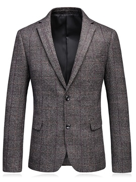 Ericdress Lapel Plaid Fit Men's Blazer