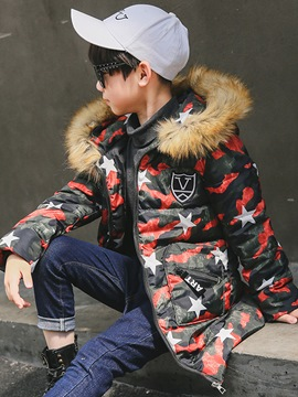Ericdress Camouflage Faux Fur Zipper Boy's Down Jacket