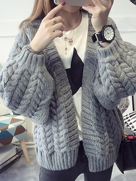 Ericdress Loose Plain Chunky Knit Cardigan Knitwear