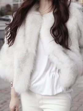 Ericdress Loose Plain Thick Faux Fur Coat
