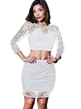 Ericdress Lace Tops and Skirt Women's Two Piece Outfit