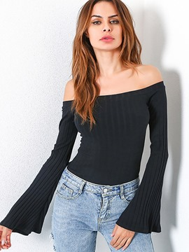Ericdress Off-Shoulder Slim Plain T-shirt