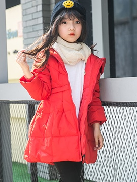 Ericdress Zipper Hooded Hemline Girl's Down Jacket