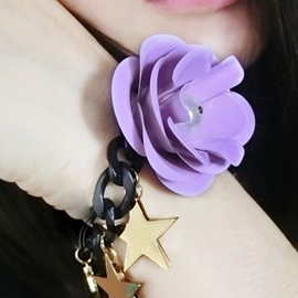 Ericdress Big Flower Ultra Violet Tassel Bracelet