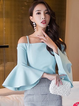 Ericdress Slash Neck Turquoise Ruffle Sleeve Blouse