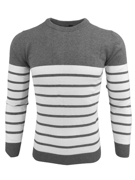 Ericdress Stripe Round Neck Pullover Men's Sweater