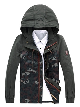 Ericdress Stand Collar Camouflage Straight Men's Jacket