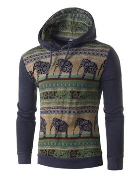 Ericdress Hooded Lace-Up Patchwork Men's Hoodie