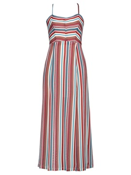 ericdress couleur bloc stripe backless vacances femmes maxi robe