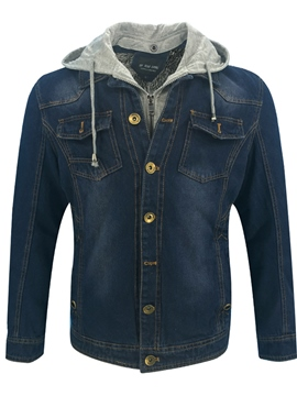 Ericdress Hooded Patchwork Men's Denim Jacket