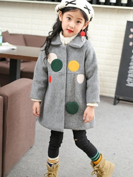 Ericdress Lapel Polka Dots Hidden Button Girl's Coat