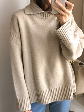 Ericdress Loose Plain Lapel Knitwear