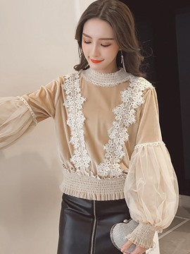 Ericdress Loose Mesh Lantern Sleeve Blouse