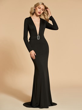 Ericdress Long Sleeve Deep V Neck Black Mermaid Evening Dress