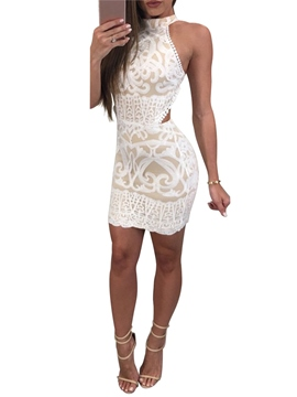 Ericdress Lace Hollow Sexy Halter Backless Bodycon Dress