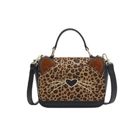 Ericdress Leopard Kitty Pattern Crossbody Bag