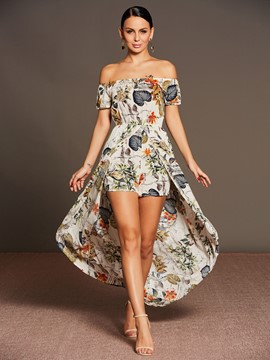 Ericdress Slash Neck Flower Print Chiffon Women's Rompers