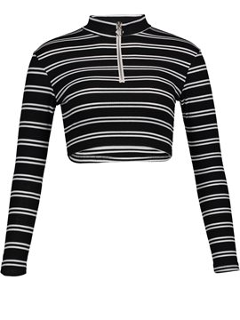 Ericdress Turtleneck Stripe Zipper Short Women's T-shirt