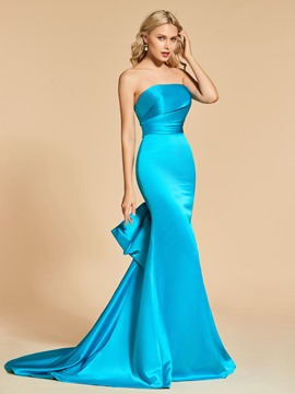 Ericdress Sheath Mermaid Strapless Long Evening Dress With Sweep Train
