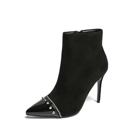 Ericdress Fashion Rivet Pointed Toe Patchwork Stiletto Heel Boots