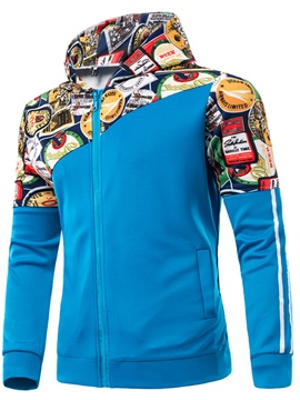Ericdress Hooded Print Color Block Zipper Men's Hoodie