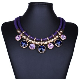 Ericdress All Match Leather Ultra Violet Pendant Necklace