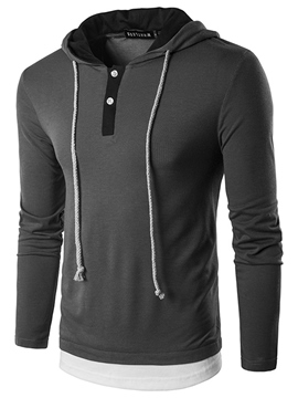 Ericdress Hooded Lace-Up Patchwork Men's T-Shirt
